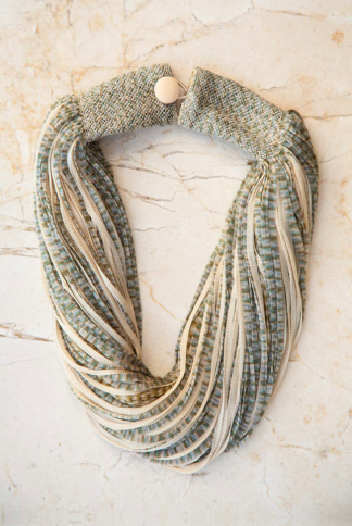 accessories necklace silk jasp beige green