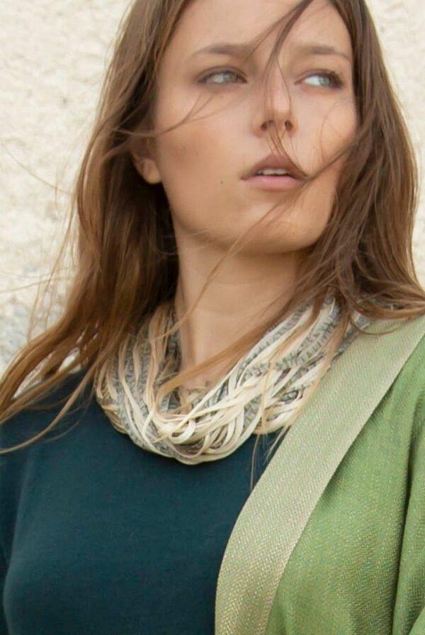 accessories necklace silk jasp beige green 02
