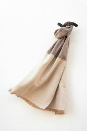 foulard bicolor taupe beige lentejuelas 01