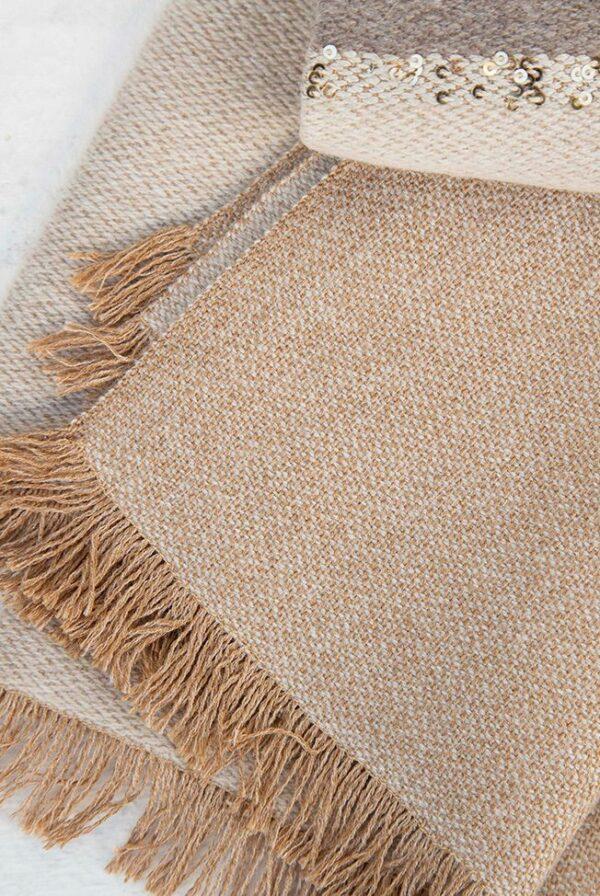 foulard bicolor taupe beige lentejuelas 02