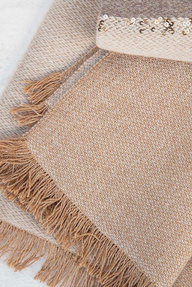 foulard bicolor taupe beige sequins 02