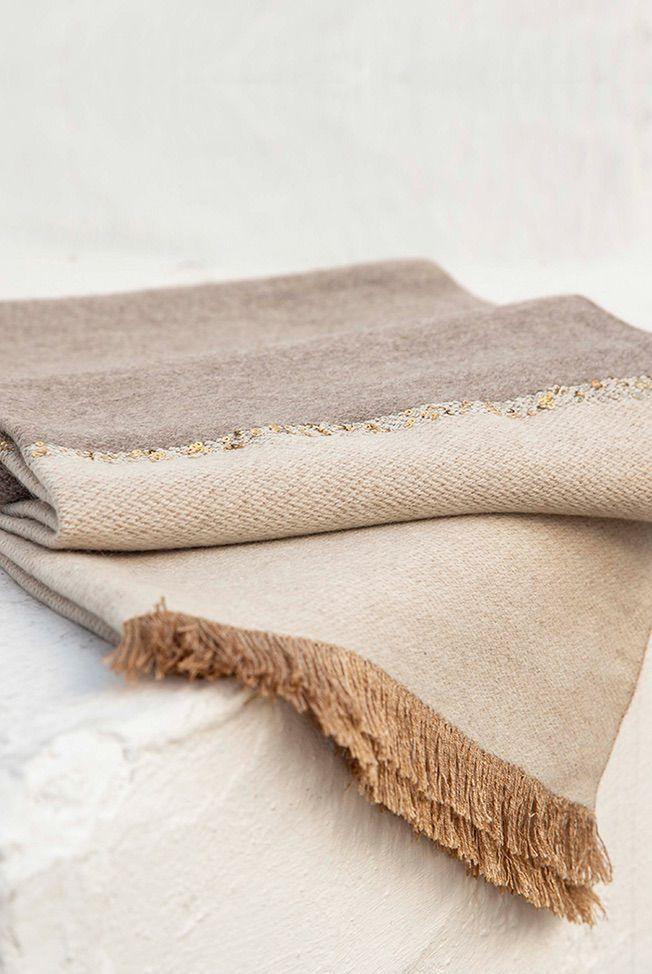foulard bicolor taupe beige sequins 03