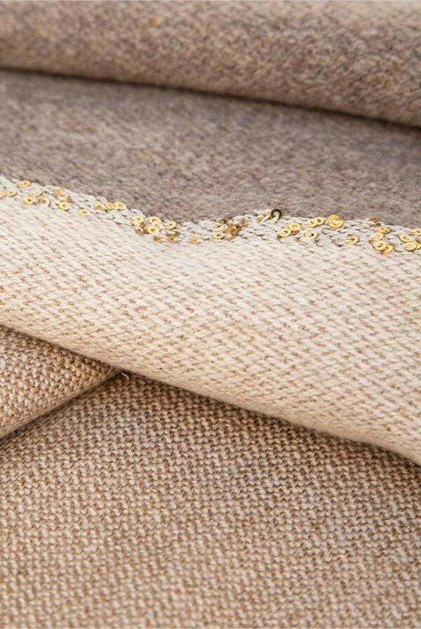 foulard bicolor taupe beige lentejuelas 04