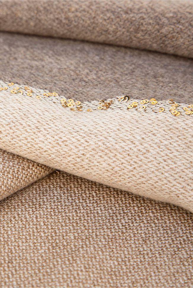 foulard bicolor taupe beige sequins 04