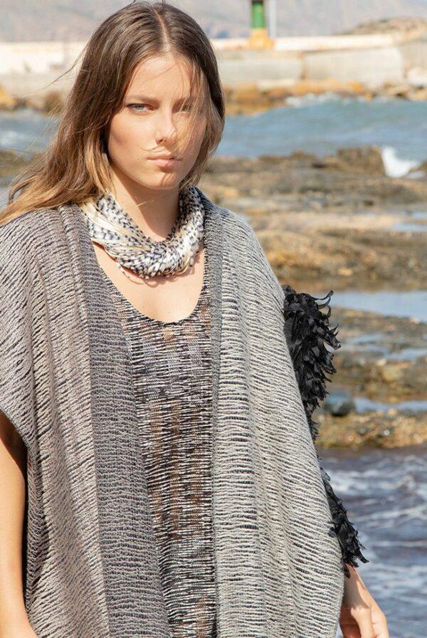 necklace silk jasp black beige 02