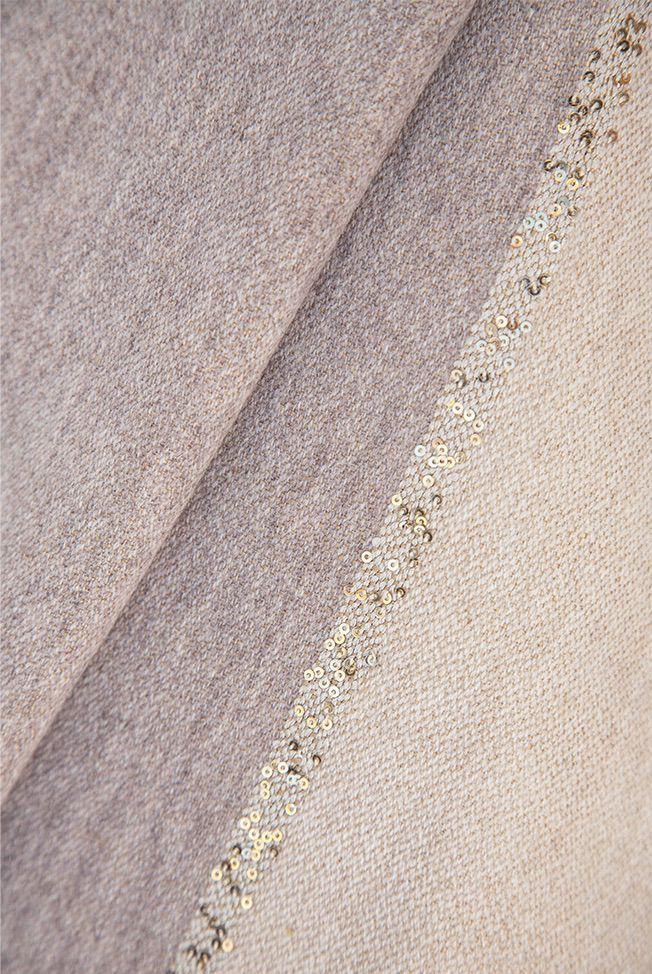 shawl bicolor taupe – beige sequins 03