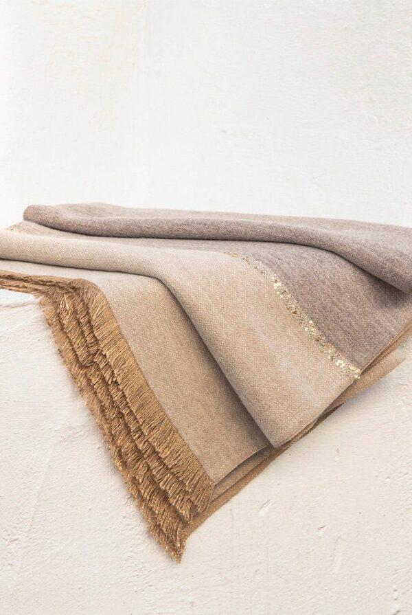 shawl bicolor taupe – beige sequins 04